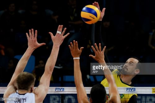 Brazil's Luis Felipe Marques Fonteles (Lipe) ®spikes... #riocaldo: Brazil's Luis Felipe Marques Fonteles (Lipe) ®spikes the ball… #riocaldo