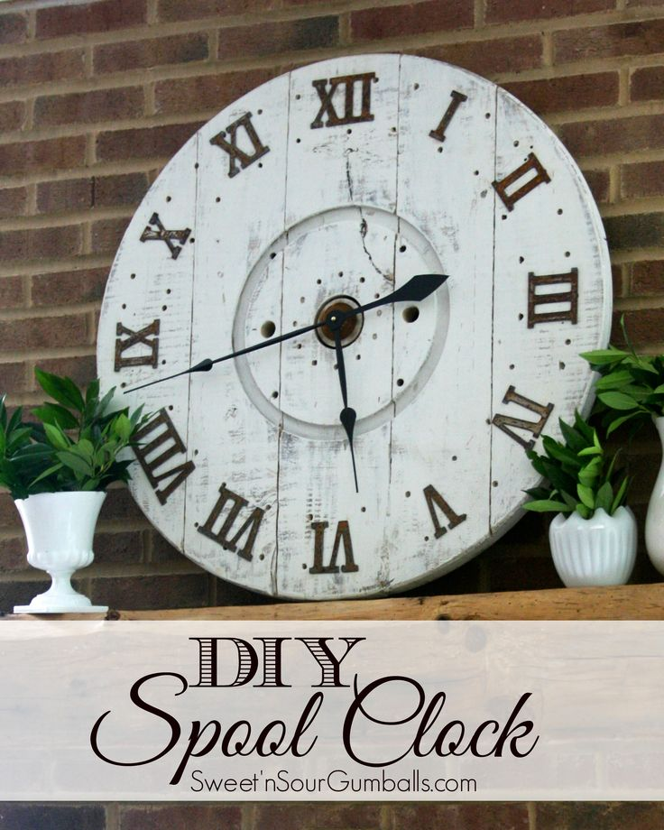 DIY Large Wood Spool Clock made from an old cable spool. This Clock is simple to make and only costs about $30.