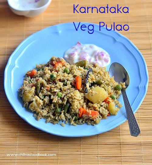 Karnataka style vegetable pulao recipe using pressure cooker - Easy, yummy Indian vegetarian pulao recipes !