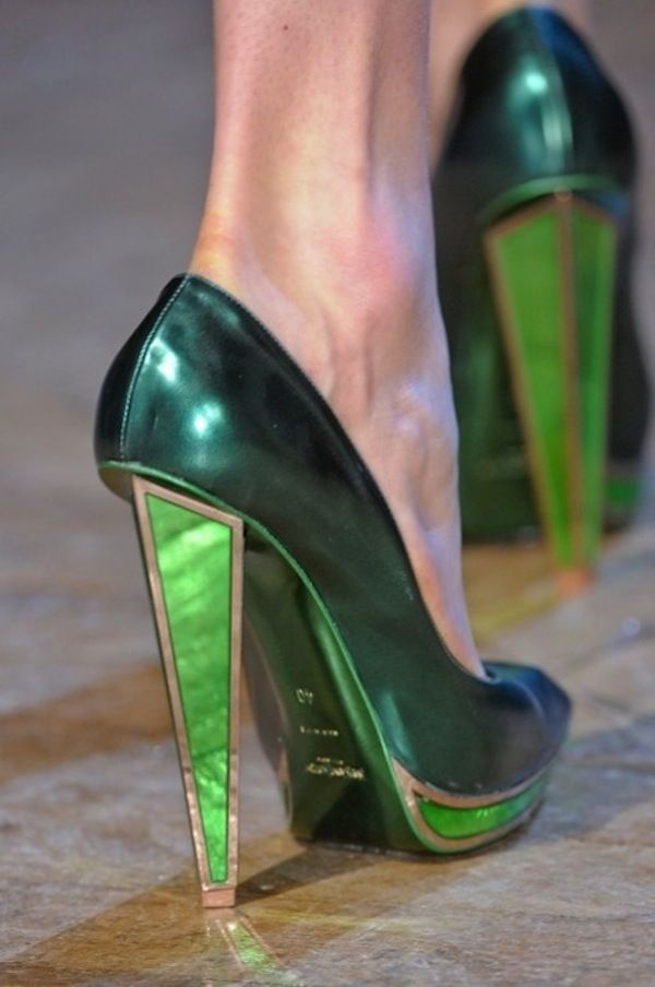 YSL high-heel shoes. How gorgeous is that emerald  tone heel? These would definitely make a fashion statement!