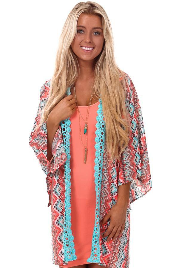 Lime Lush Boutique - Neon Coral Aztec Print Kimono with Crochet ...