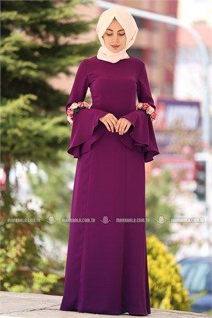 Tuay - Kolları Çiçekli Tesettür Abiye Elbise - 2365 - Mürdüm