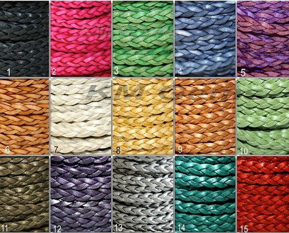 Kies uw kleur / grootte  gevlochten 5 mm plat lederen koord /