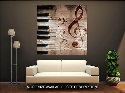 Wall Art Canvas Print Picture Music Signs and Piano Urban Style Grunge-Unframed