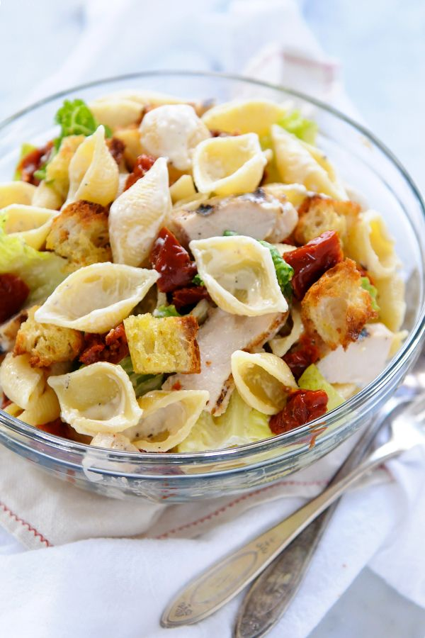 Grilled Chicken Caesar Pasta Salad With Garlicky Croutons