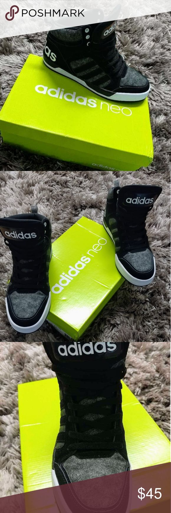 Men's Adidas Neo Raleigh 9TIS? condition:?new  Black/Grey mid top Adidas that has never been worn. * comfortable * athletic basketball shoe style * Lace-up front, * padded tongue and collar * Rubber traction outsole Adidas Shoes Sneakers