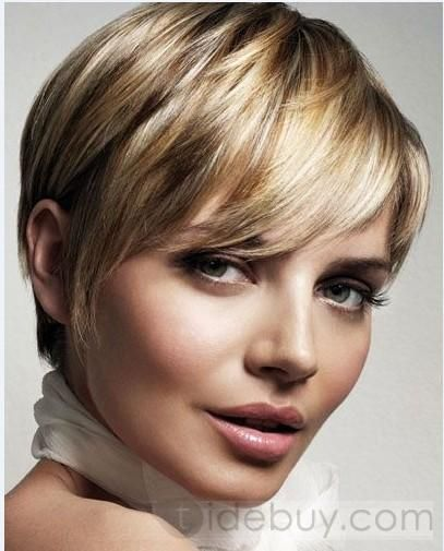 2012 Short Hairstyle Trend Elegant 100% Human Remy Hair about 5Inch Blonde Cheap Wig