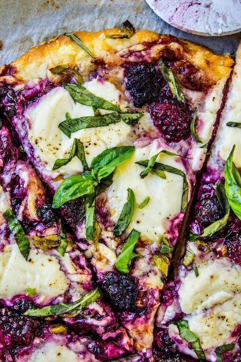 Blackberry Ricotta Pizza with Basil.