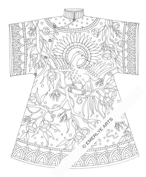 Printable Coloring Page Chinese Bird Coat Por Emerlyearts En Etsy