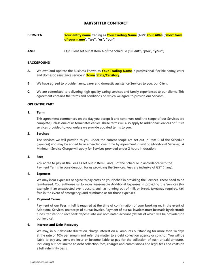 Babysitter contract template easy legal templates