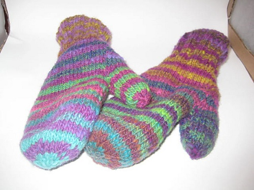 best mitts ever - lots of colour on the outside, alpaca on the inside