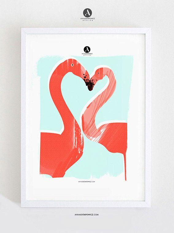 © annaostapowicz.com Print of my original illustration FLAMONGOS! #artprint, #illustration, #flamingos