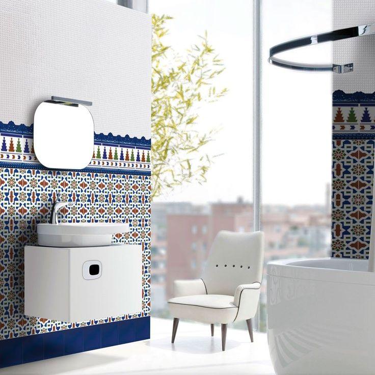 Medina Azul Decorated Field Tiles Bargello Tiles 300x200x6.5mm Tiles