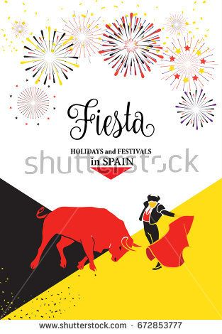 Spain fiestas or festivals abstract poster. Spanish San Fermin Festivals, wallpaper. The running of the bulls is the main attraction in this famous celebration, Pamplona fiesta. Vector illustration.