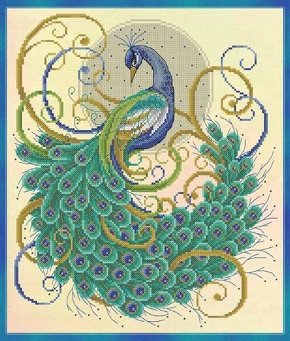 Swirling Peacock Cross Stitch.  Wonder if I can talk Grandma in to making one for Scarlett.