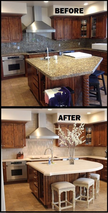 Amazing transformation of a kitchen featuring the European inspired beauty of Perlé Blanc marble limestone countertop and backsplash.