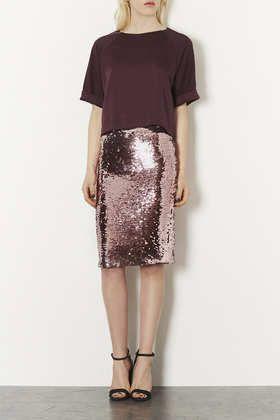 Pink Sequin Pencil Skirt //  Topshop