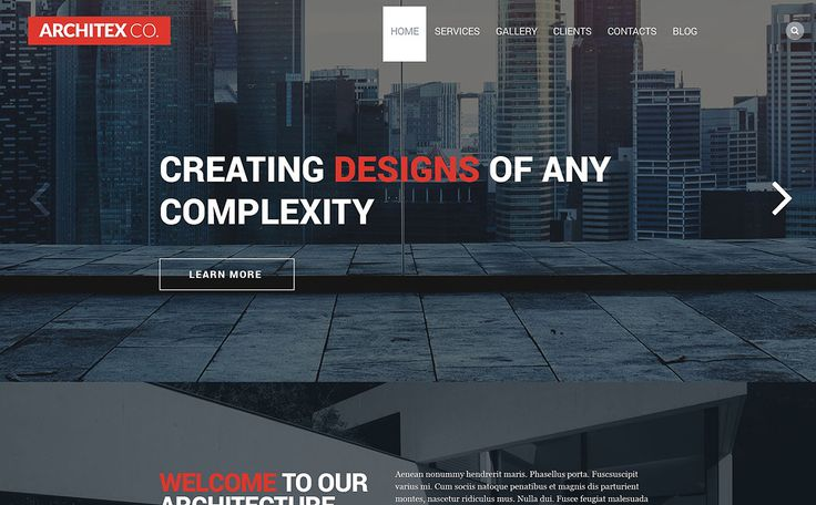 Score: 80 As you see, the template was designed for architecture companies. It is extremely visually appealing. The effect is reached with the help of big high resolution images that feature the most impressive company projects. Concise texts are a kind of guarantee that the visitors will read all important information. Big ...