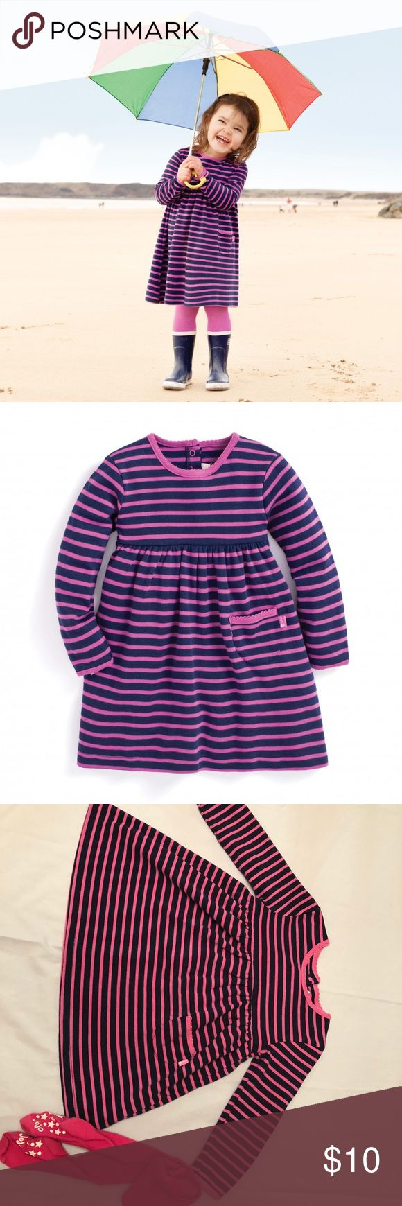 JoJo Maman BeBe Classic Breton Stripe Dress Long sleeve Navy/Fuchsia Stripe ~ 2-3 years. Tights not included but willing to bundle. Jo Jo Maman BeBe Dresses Casual