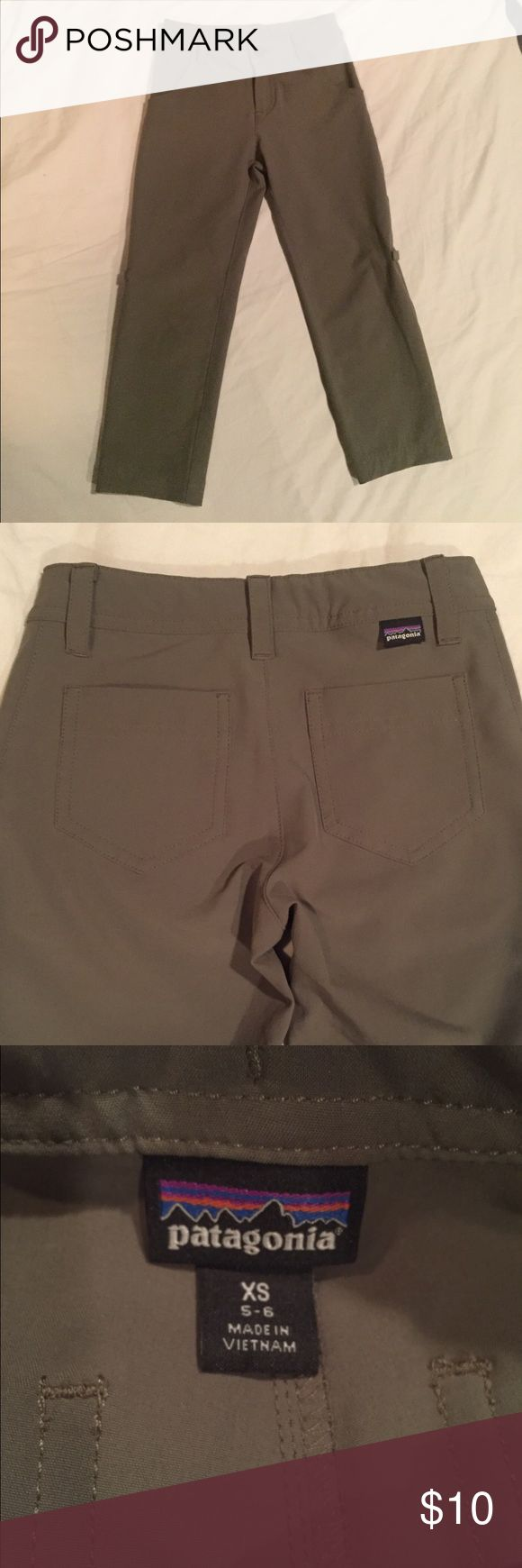 Patagonia Happy Hike Pants Girls Happy Hike pants from Patagonia. Olive/Army green color. Perfect condition, zero flaws. Girls XS. Adjustable waist inside and belt loops outside. Legs can fold up and be buttoned into shorts. Patagonia Bottoms Casual
