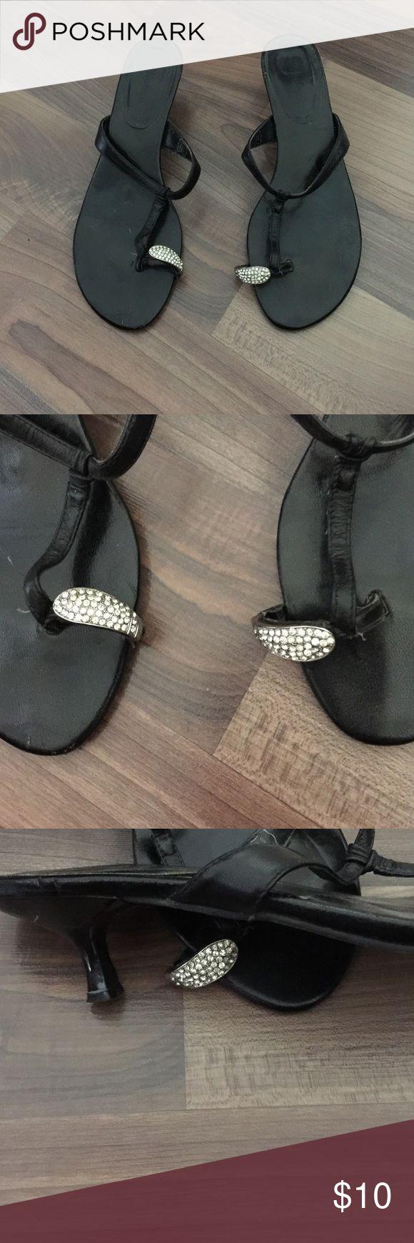 """Black leather bling sandals Black leather bling sandals.  2"""" heel Shoes Sandals"""