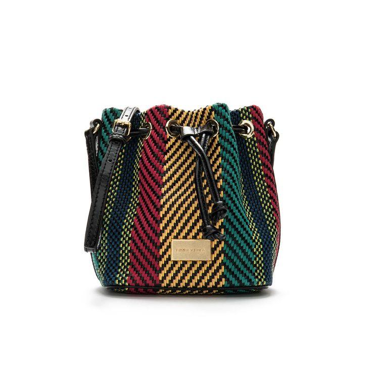 Mini braided bucket bag
