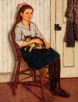 """Emily Coonan 1885-1971 """"Jeune fille et chat"""" 1920. Huile sur toile, 71,9 x 56,2 cm. Expo Le Groupe de Beaver Hall, MBAM."""