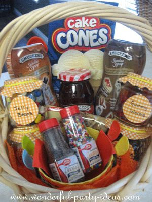 Sundae gift basket themes are a great seasonal favorite for adults and kids alike.  Rich tasting sauces and a huge selection of toppings make this basket a sweet treat.