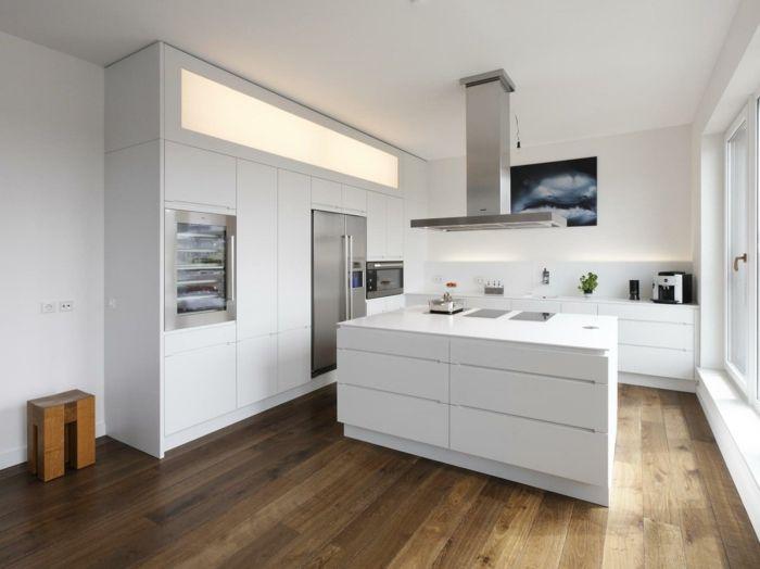 wohnideen küche bodenbelag holzoptik moderne kücheninsel weiß