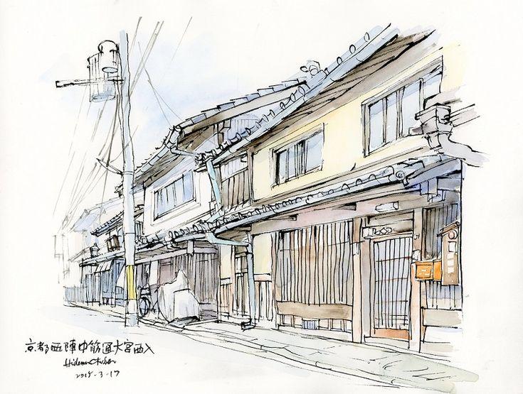 2015-3-17 「西陣中筋通の風景 」 22x27cm  インク (15-052)いいね !
