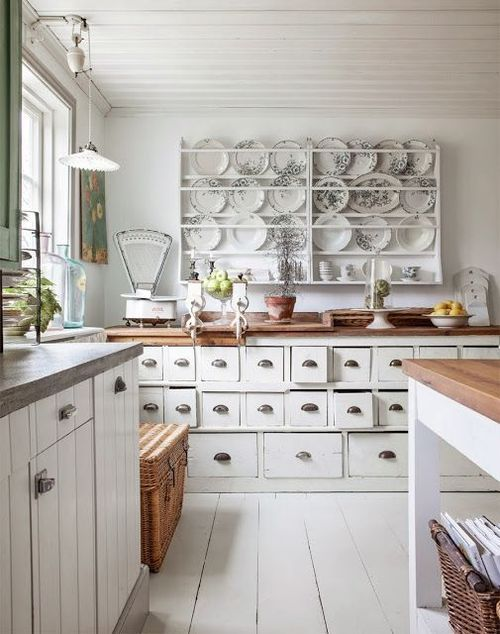 White Vintage Kitchen: like the small drawers for bits and bobs.