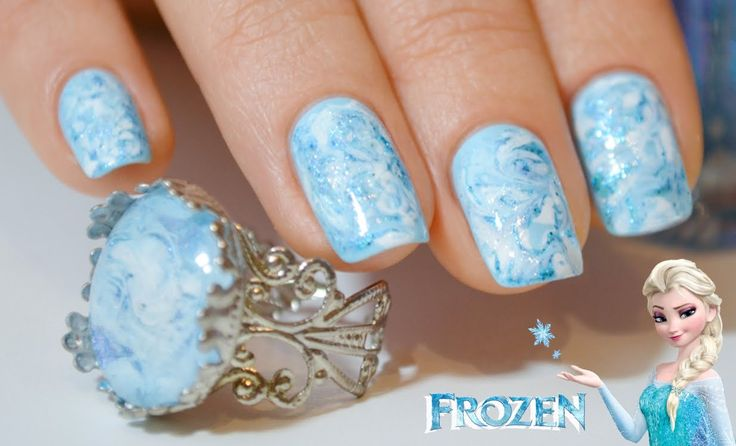 Дизайн ногтей в голубых тонах с кольцом / Winter Frozen NailArt
