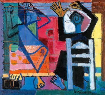 he escogida esta obra llamada dos hilanderas, y realizada en 1948 por el artista granadino José Guerrero. la escogí de entre otras porque me llamaba la atención su utilización de formas y colores apagados.
