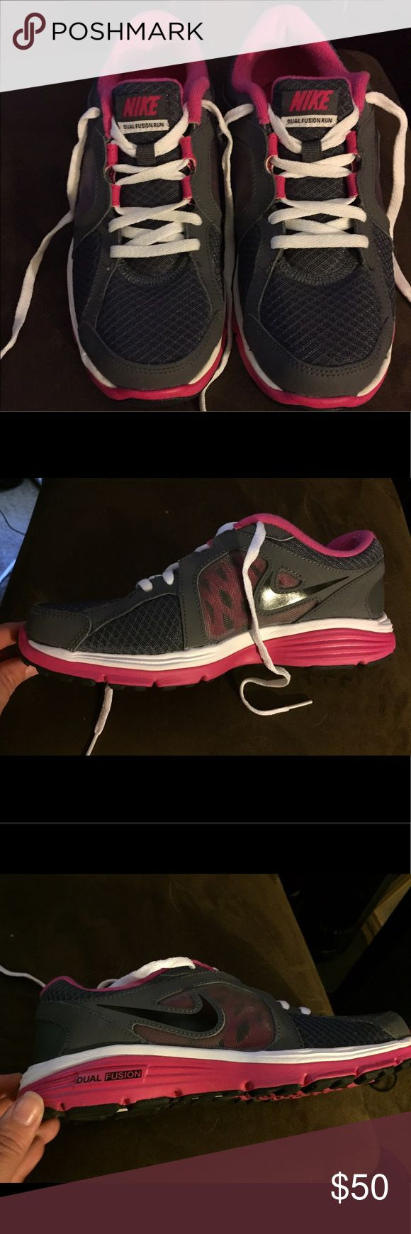 Nike dual fusion running sneakers Nike dual fusion running sneakers worn once. Size is 5Y, which would fit a women's size 6 1/2 - 7. Open to reasonable negotiations! 🏃🏻‍♀️💕 Nike Shoes Sneakers