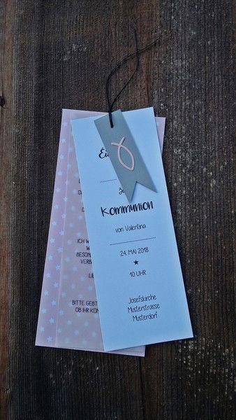 Einladungen - Einladungskarte Taufe Kommunion Hochzeit - ein Designerstück von Snoeflingor bei DaWanda