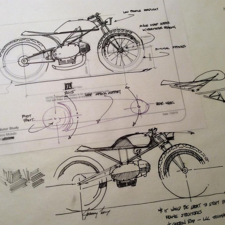 downshiftstudio:  CAD + Analog hand sketches.  This bike will be built around an…