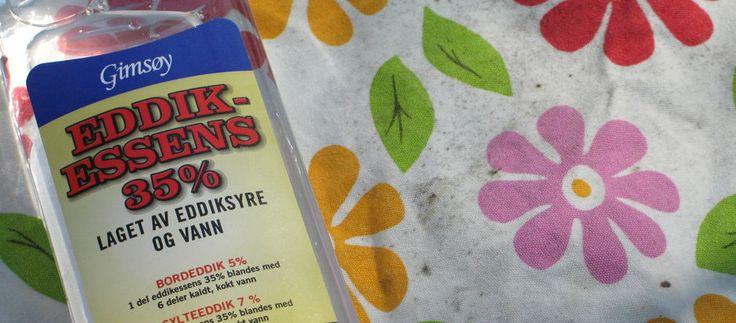 SLIK FJERNER DU JORDSLAG: Om ikke vaskemiddel med blekemiddel fungerer, kan du prøve eddik.  (FOTO: KRISTIN SØRDAL)