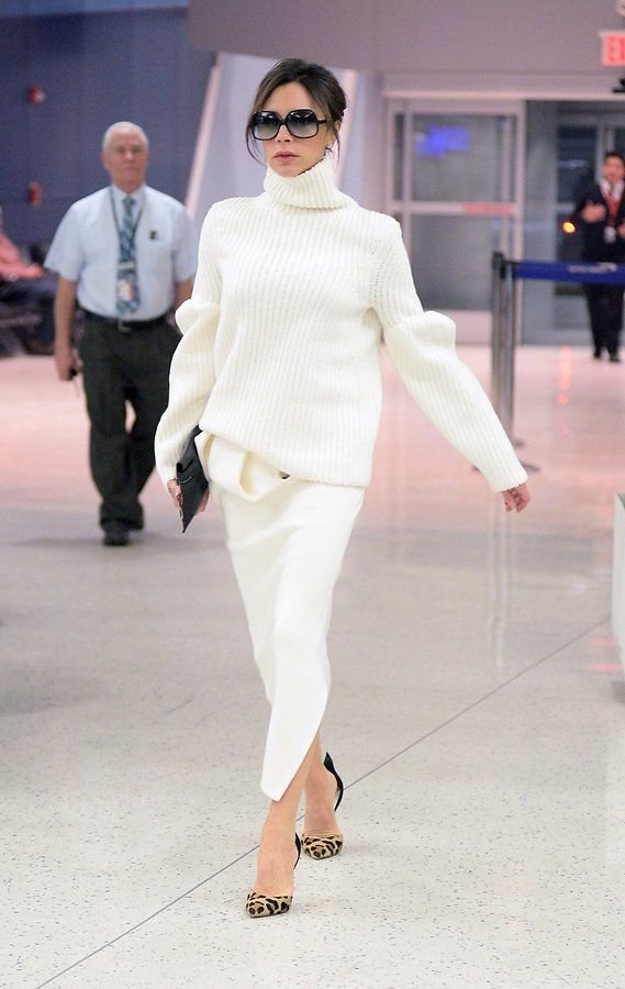 Victoria Beckham in Francesco Russo - While admittedly not the first shoe one thinks of for an extended flight, a pair of animal-print stilettos will ensure a posh arrival and an instant upgrade onto any best-dressed list.