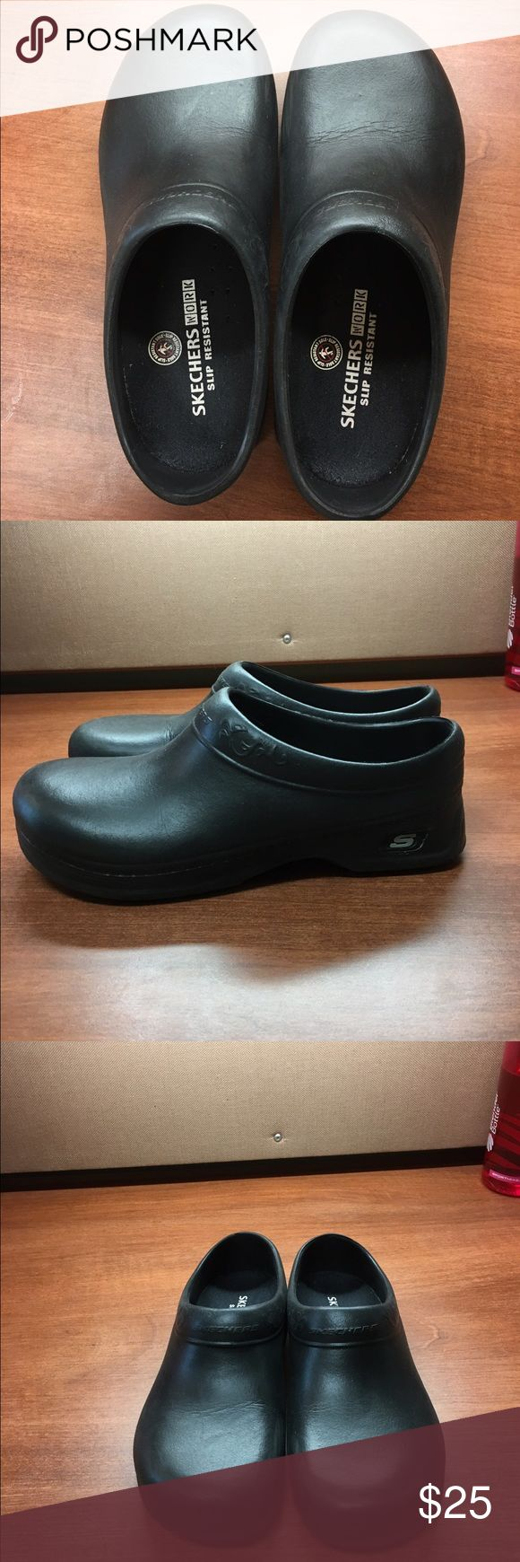 Sketchers black clogs, nursing/hospital shoes Worn once, comfortable soles, size 7, rubber non-slip with closed heel. Great for hospital jobs and comfortable. Skechers Shoes Mules & Clogs