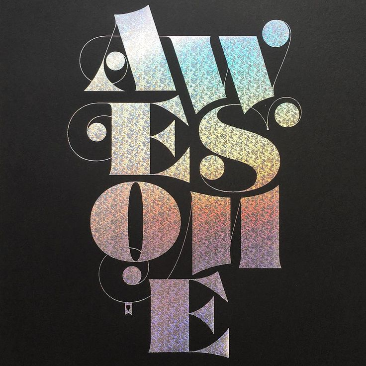 «Awesome poster on black with patterned holographic #foilstamp by @jessicahische available on her site.»