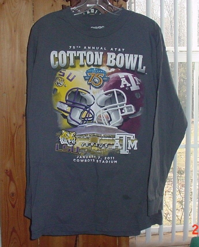 75th Annual Cotton Bowl 2011 LSU Texas A M Football T Shirt Cowboys Stadium Sz L | eBay