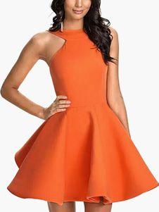 Vestido plisado de Acetato naranja con escote estilo marinero sin mangas Color liso con diseño hueco