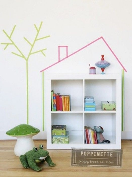 20 Cool Washi Tape Decor Ideas For Kids Rooms | Kidsomania - Love the house outline around the shelf.