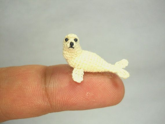 White Seal  Miniature Crochet Pinniped Stuffed Animal  by SuAmi