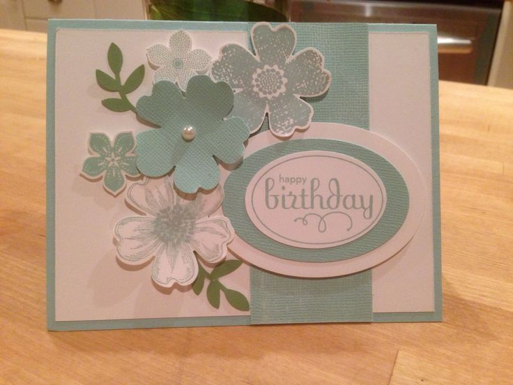 Love the Flower Shop Bundle paired with some Petite Petals. Using Pool Party and Whisper White. Stampin up!