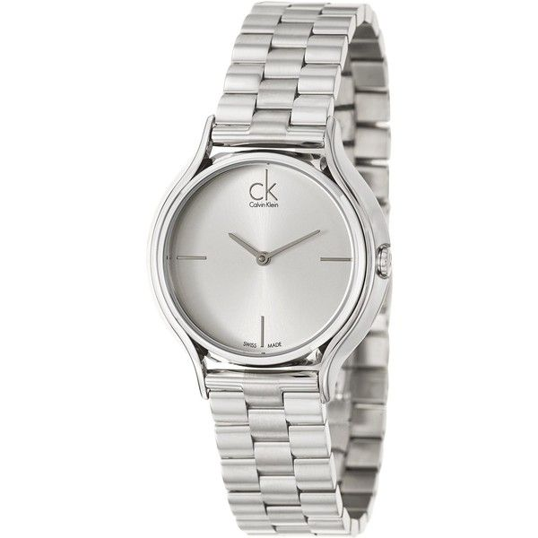 Calvin Klein Women's 'Skirt' Stainless Steel Swiss Quartz Watch found on Polyvore featuring jewelry, watches, silver, stainless steel jewellery, stainless steel charms, crown charm, water resistant watches and calvin klein watches