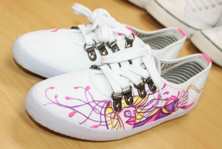 Girl Graffiti character Pink & Purple on white shoe