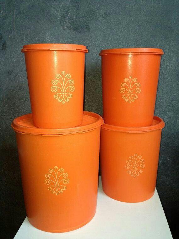 Orange tupperware canister set
