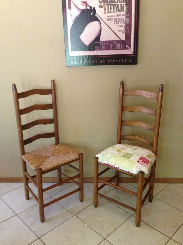 Vintage Ladder Back Chair Redo. Kept The Rattan Under. Kids Just Didnu0027t