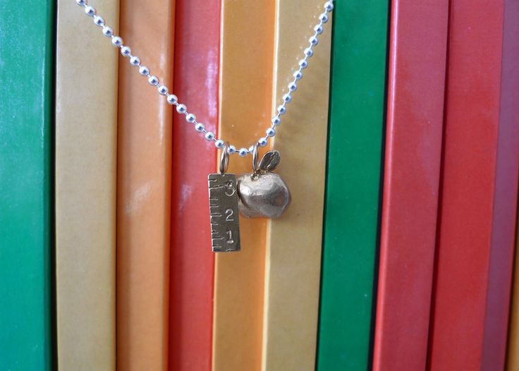 """Teacher """"What I want to be"""" Necklace in Silver by Slashpile Designs."""